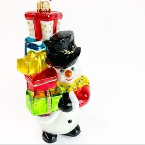 Glassware Art Studio Snowman Poland Blown Ornament